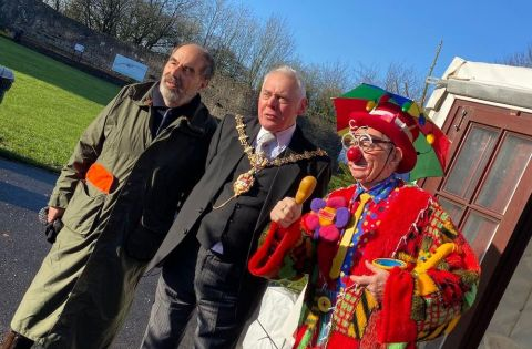 Mayor of Dudley, Councillor David Stanley with Conk the Clown and Mad Hatter's founder Stephen Goldstein